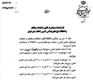 طرح کاهش تعداد اعضای شورای شهر تصویب شد/ كاهش نمايندگان شوراها در لرستان